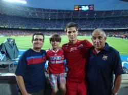 Les familles Bouvier et Gaugain au Camp Nou lors du 1er match de championnat de Liga FC Barcelone-Real Sociedad [5-1]